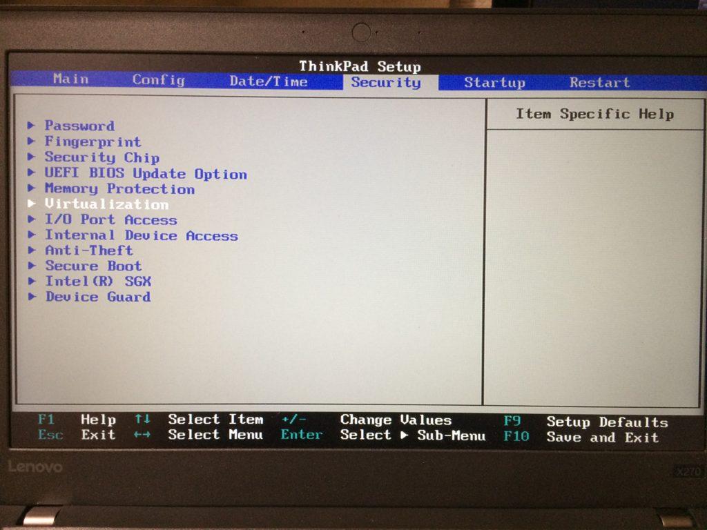 BIOS Securityタブ
