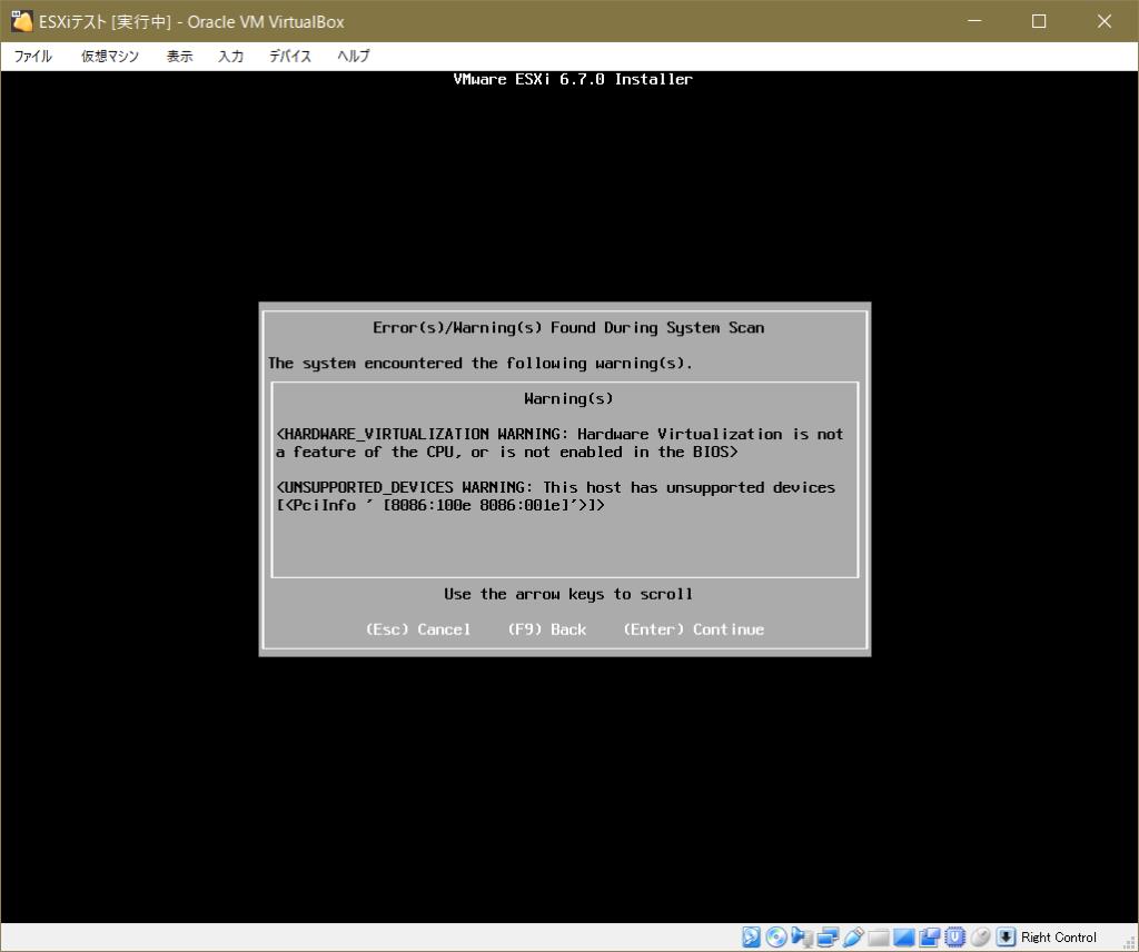 ESXiインストール_ワーニング画面